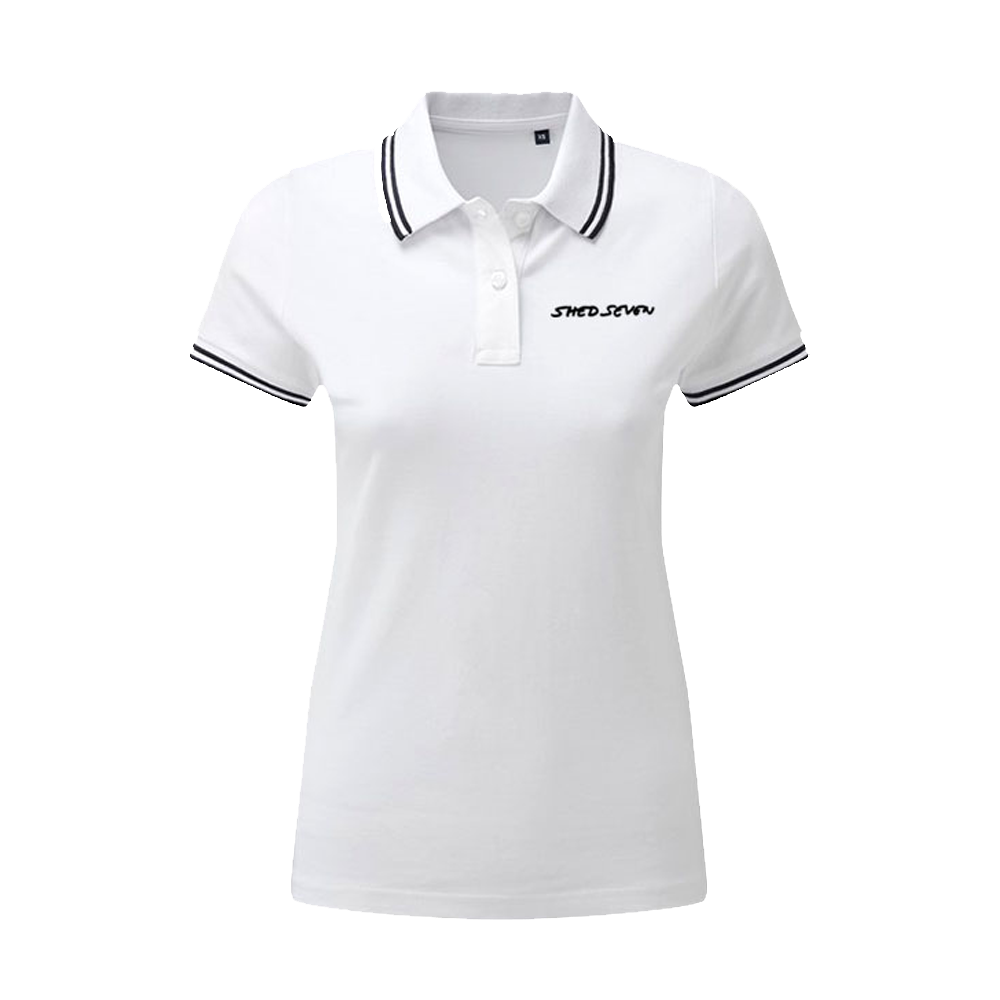 Buy Online Shed Seven - Ladies Shed Seven White Polo Shirt