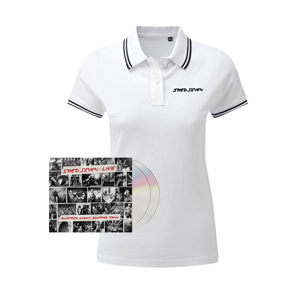 Buy Online Shed Seven - Another Night, Another Town 2CD Album (Signed) + Ladies White Polo Shirt