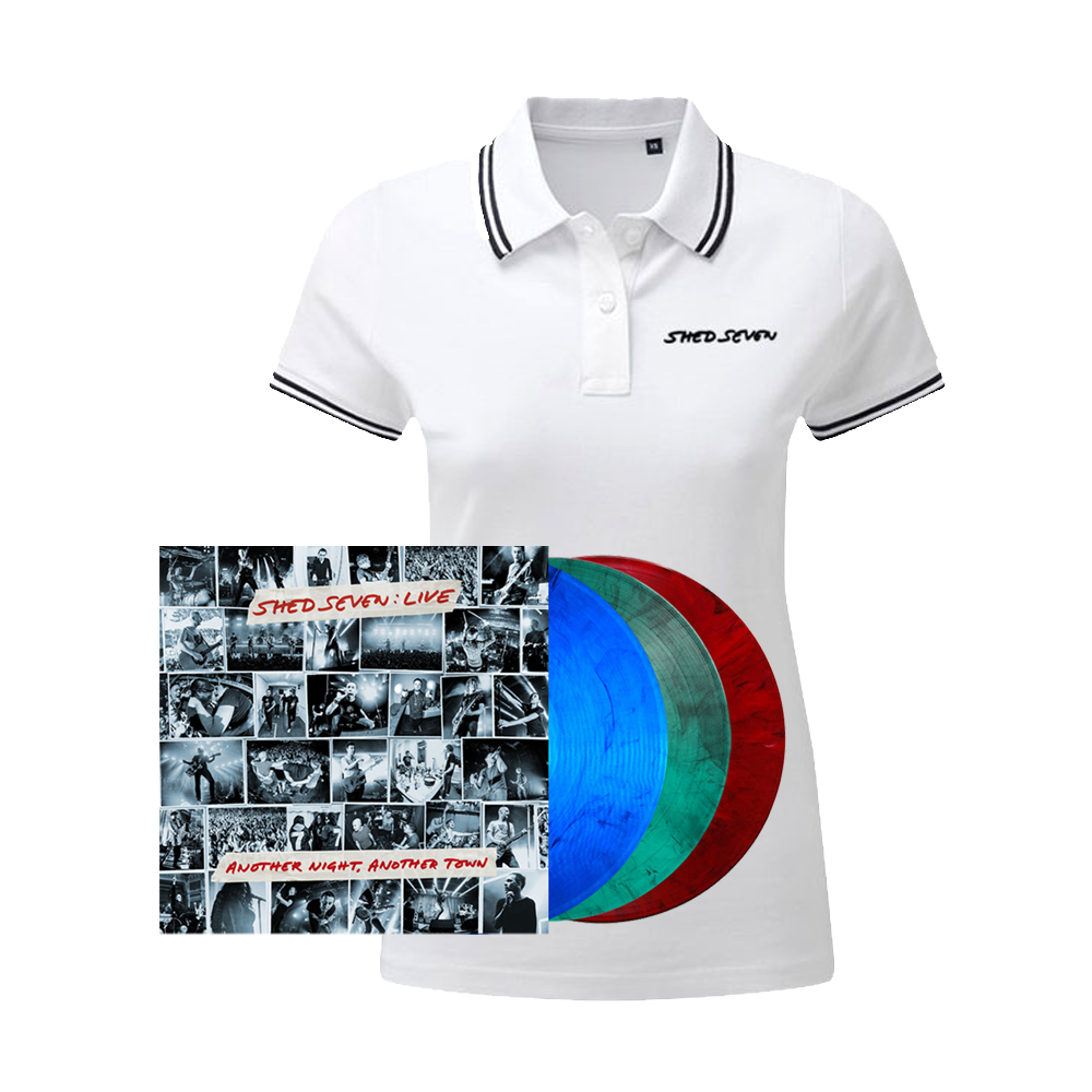 Buy Online Shed Seven - Another Night, Another Town Smoke Coloured Triple Vinyl (Signed) + Ladies White Polo Shirt
