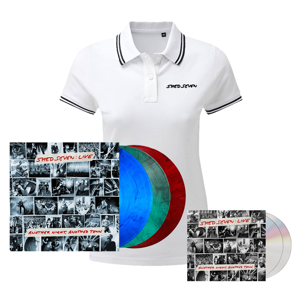 Buy Online Shed Seven - Another Night, Another Town 2CD Album (Signed) + Smoke Coloured Triple Vinyl (Signed) + Ladies White Polo Shirt