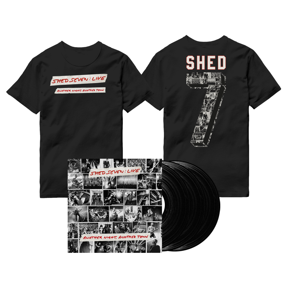 Buy Online Shed Seven - Another Night, Another Town Black Triple Vinyl (Signed) + Live Logo T-Shirt