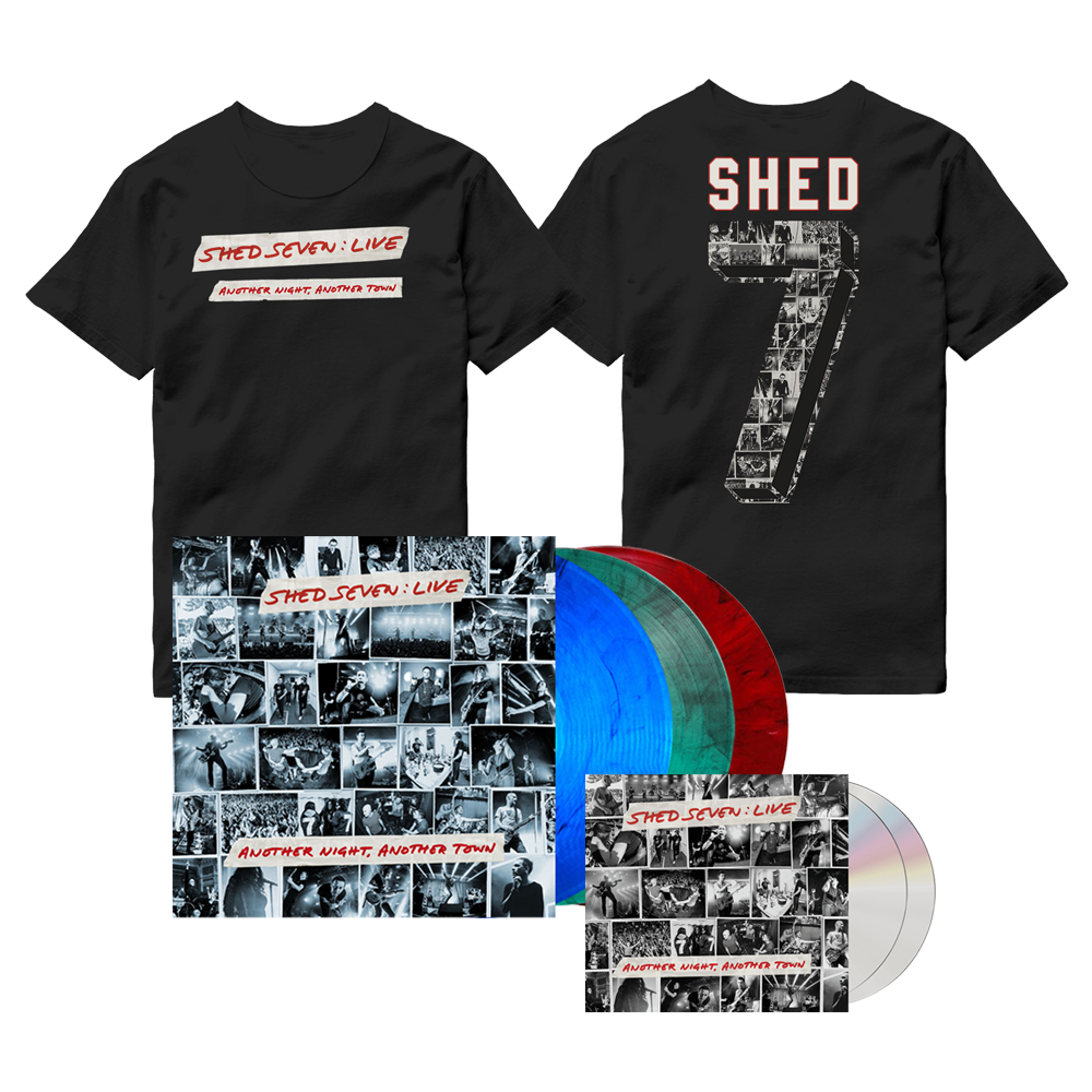 Buy Online Shed Seven - Another Night, Another Town 2CD Album (Signed) + Smoke Coloured Triple Vinyl (Signed) + Live Logo T-Shirt