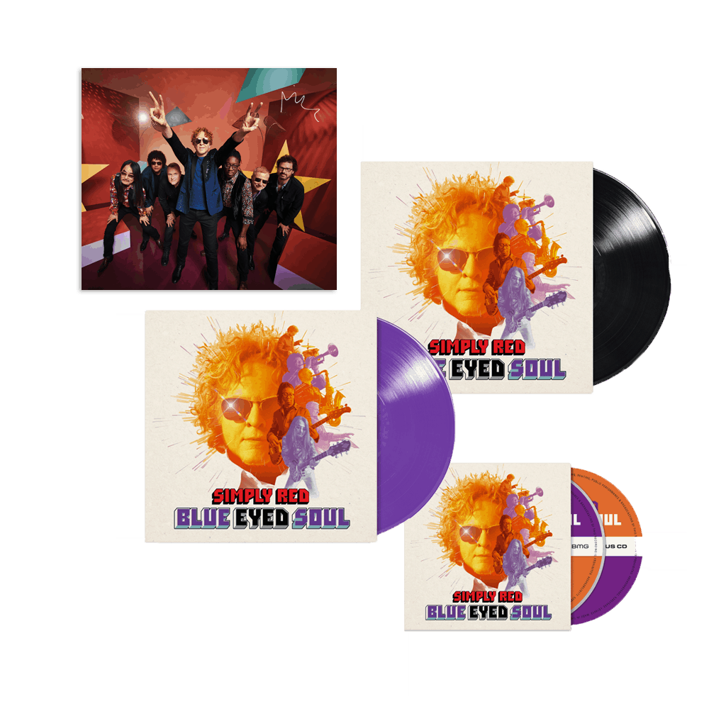 Buy Online Simply Red - Blue Eyed Soul Purple Vinyl + Standard Vinyl + Deluxe CD + Print By Mick Hucknall