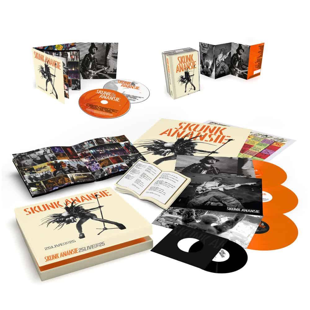 Buy Online Skunk Anansie - 25LIVE@25 Deluxe 2CD Album (Signed) + 3LP Orange Vinyl Boxset (Signed) + Double Cassette