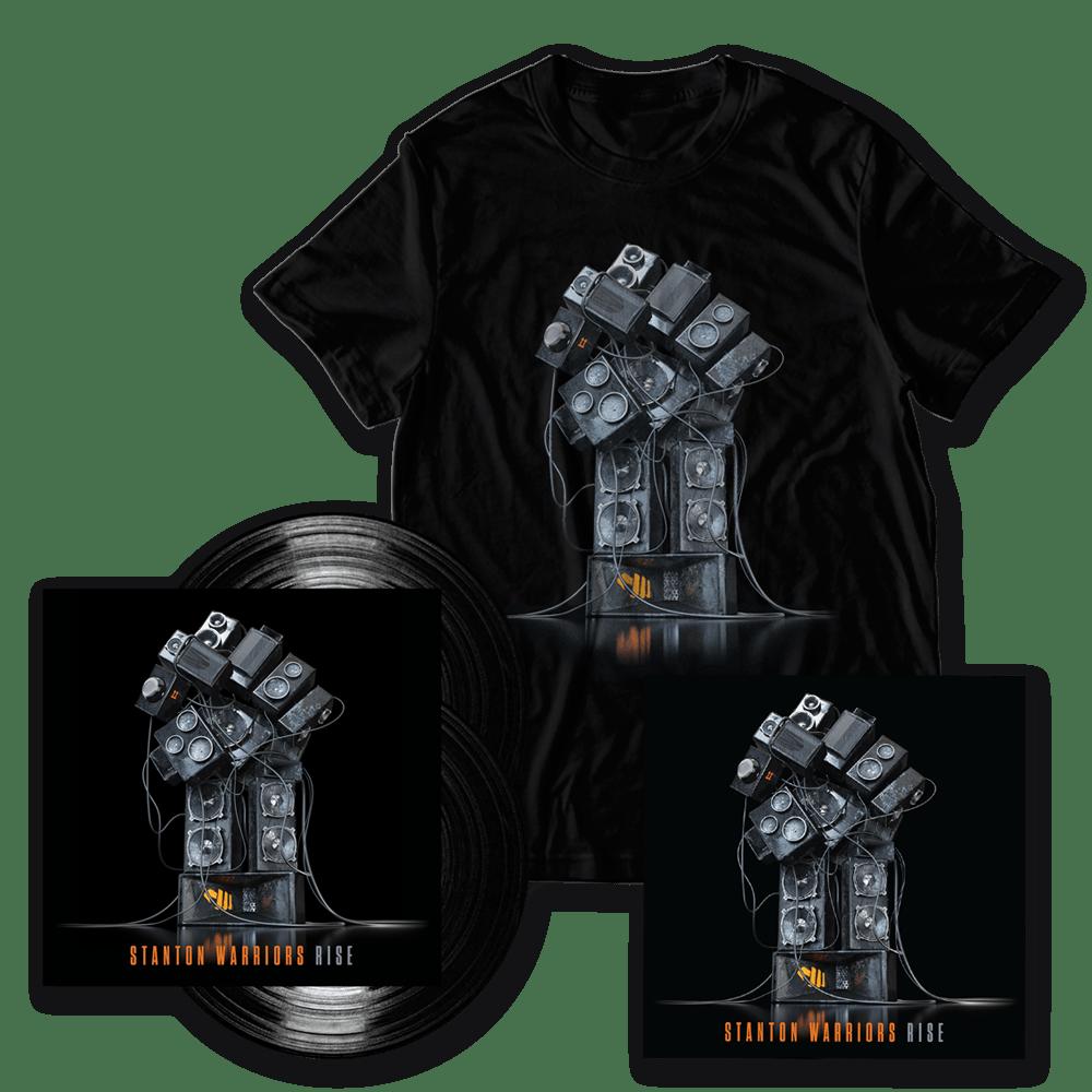 Buy Online Stanton Warriors - Rise Double Vinyl (Signed) + Album Art T-Shirt + Artwork Print (Signed)