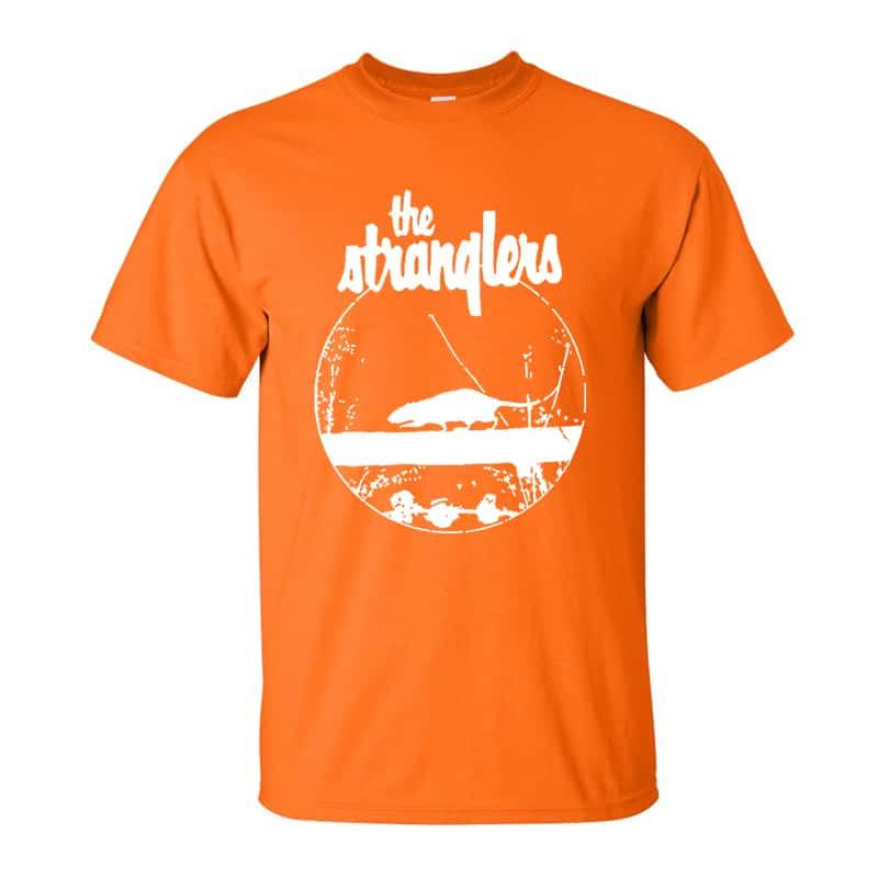 Buy Online Stranglers - Orange Rattus T-Shirt (White Logo)