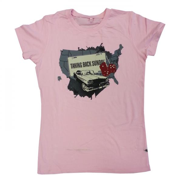 Buy Online Taking Back Sunday - Ladies Pink Car T-Shirt