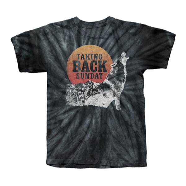 Buy Online Taking Back Sunday - Black Spiral Wolf Tie Dye T-Shirt