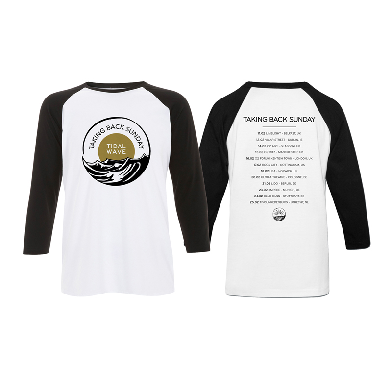 Buy Online Taking Back Sunday - White/Black Logo Tour Baseball T-Shirt