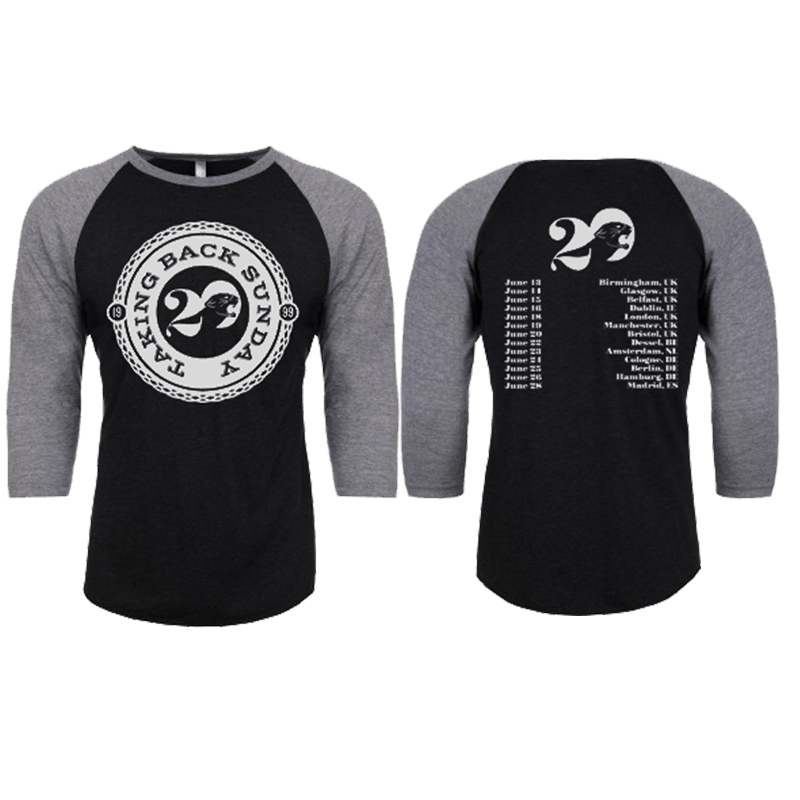 Buy Online Taking Back Sunday - Black/Heather Tour 2019 3/4 Sleeve T-Shirt