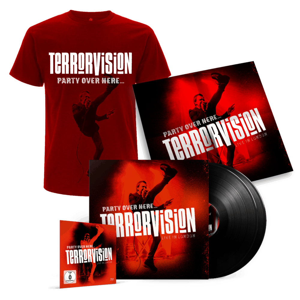 Buy Online Terrorvision - Party Over Here... Live In London Double Vinyl (Incl. Blu-Ray, Download & 60x60cm poster) + T-Shirt