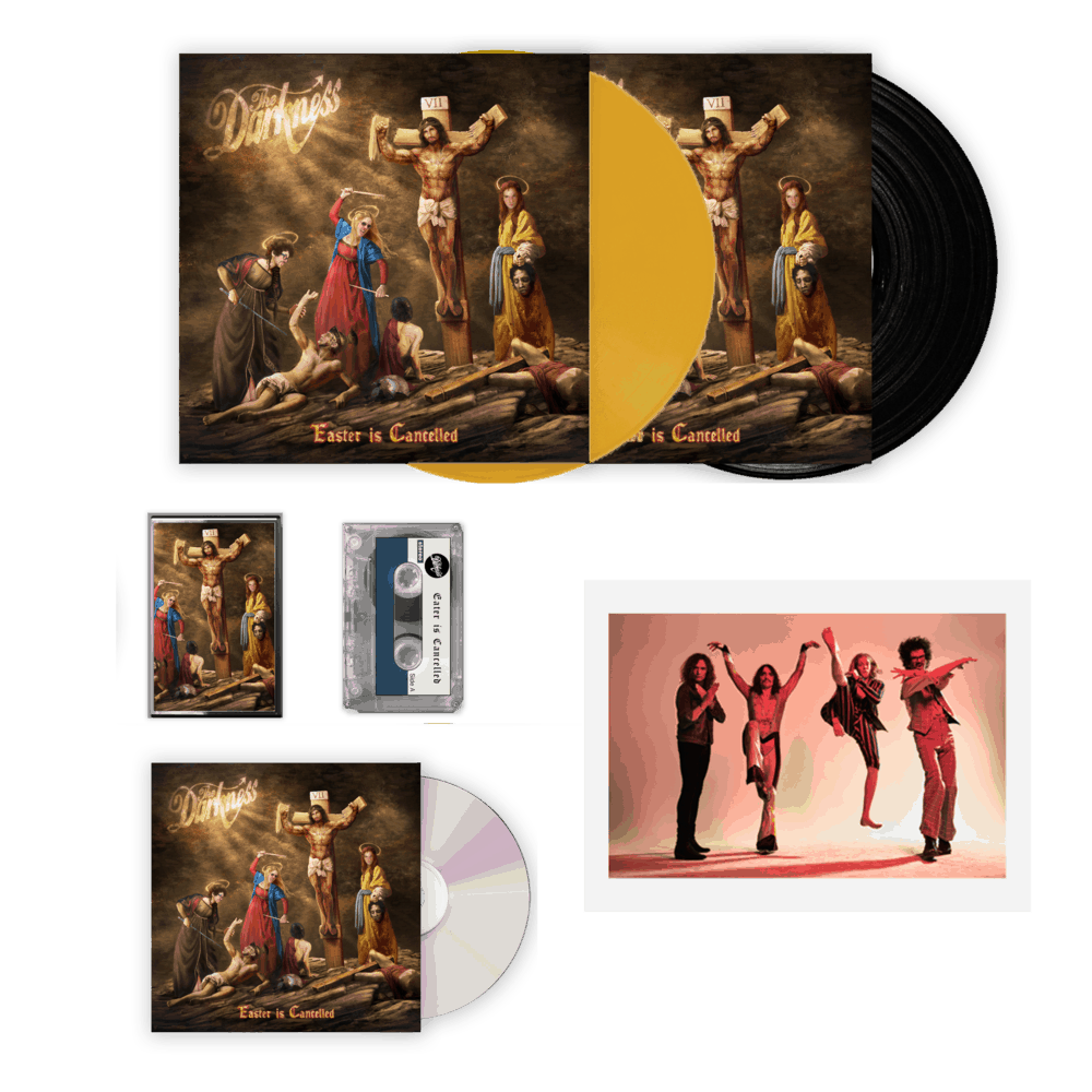 Buy Online The Darkness - Easter Is Cancelled Deluxe CD + Coloured Vinyl + Cassette + Black Vinyl + Signed Band Photograph