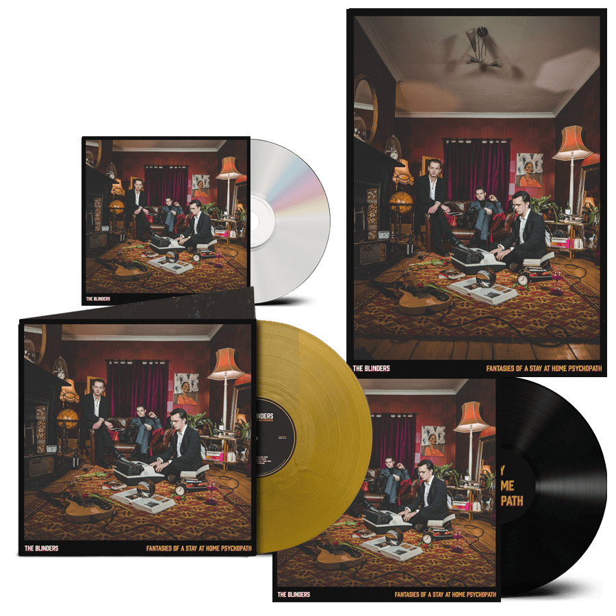 Buy Online The Blinders - Fantasies Of A Stay At Home Psychopath CD + Exclusive Gatefold Gold Vinyl + Black Vinyl + A3 Print (Signed, Numbered) (Signed)