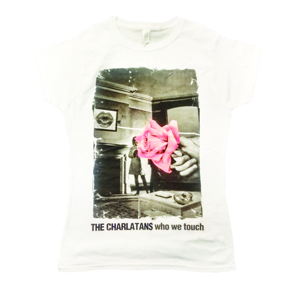 Buy Online The Charlatans - Ladies White Faded Rose T-Shirt