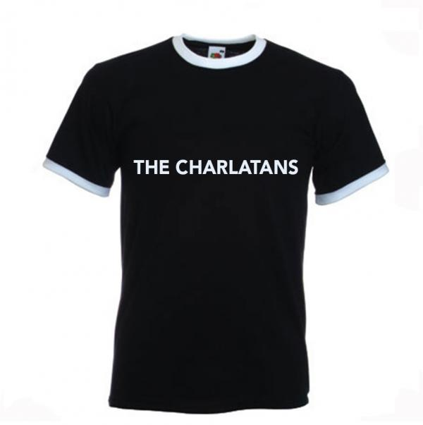 Buy Online The Charlatans - Mens Black Ringer T-Shirt