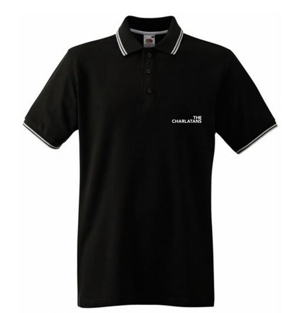 Buy Online The Charlatans - Mens Black Logo Polo Shirt