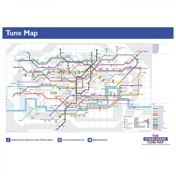 Buy Online The Charlatans - Charlatans Tune Map A2 Poster