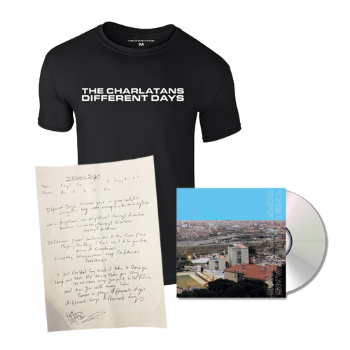Buy Online The Charlatans - Different Days CD + Signed Lyric Sheet + Black Mens T-Shirt