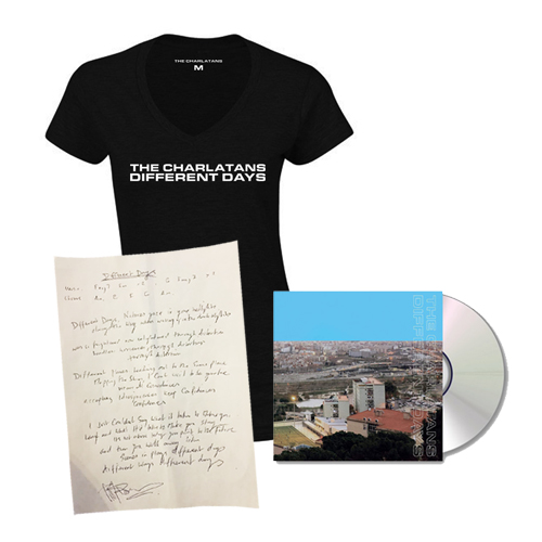Buy Online The Charlatans - Different Days CD + Signed Lyric Sheet + Black Ladies T-Shirt