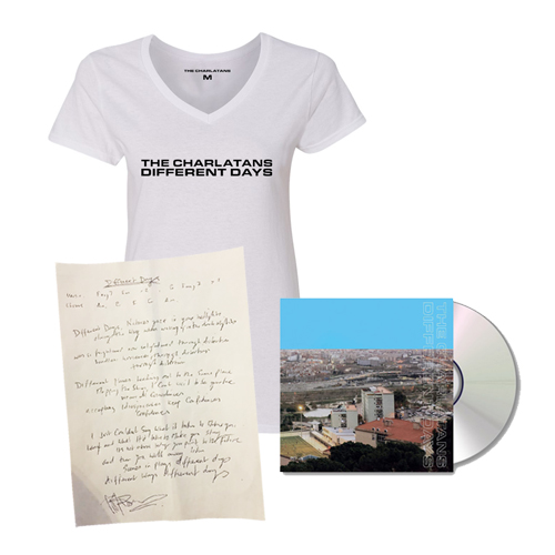 Buy Online The Charlatans - Different Days CD + Signed Lyric Sheet + White Ladies T-Shirt