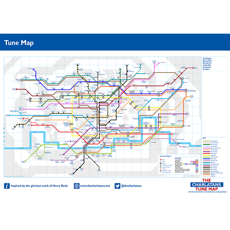 Buy Online The Charlatans - A2 Tune Map Print (Updated Version)