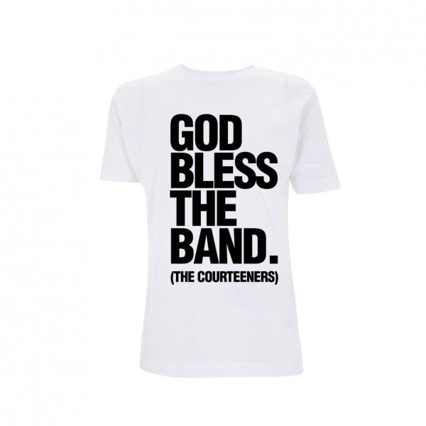 Buy Online Courteeners - God Bless The Band White Ladies T-Shirt
