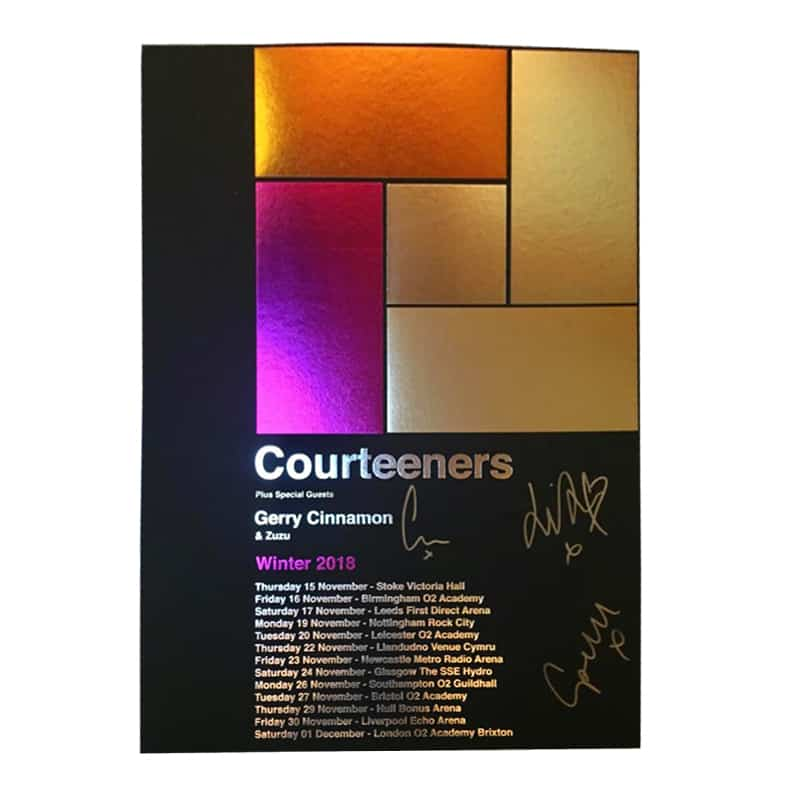 Buy Online Courteeners - Hand-Processed Block Foiled Art Print (Signed) 2018 Tour