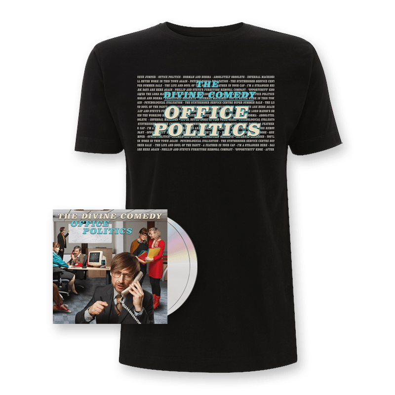 Buy Online The Divine Comedy - Office Politics Deluxe CD + T-Shirt + Signed Artwork Print