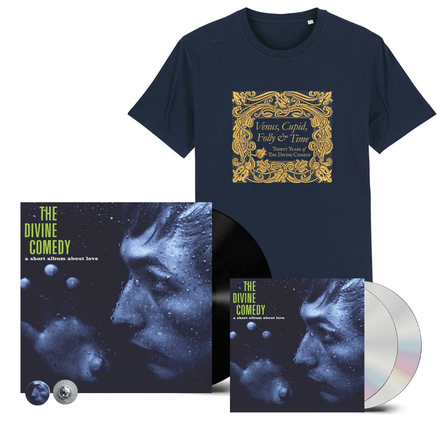 Buy Online The Divine Comedy - A Short Album About Love Vinyl + 2CD + T-Shirt (Remastered) (Inc. Pin Badge)