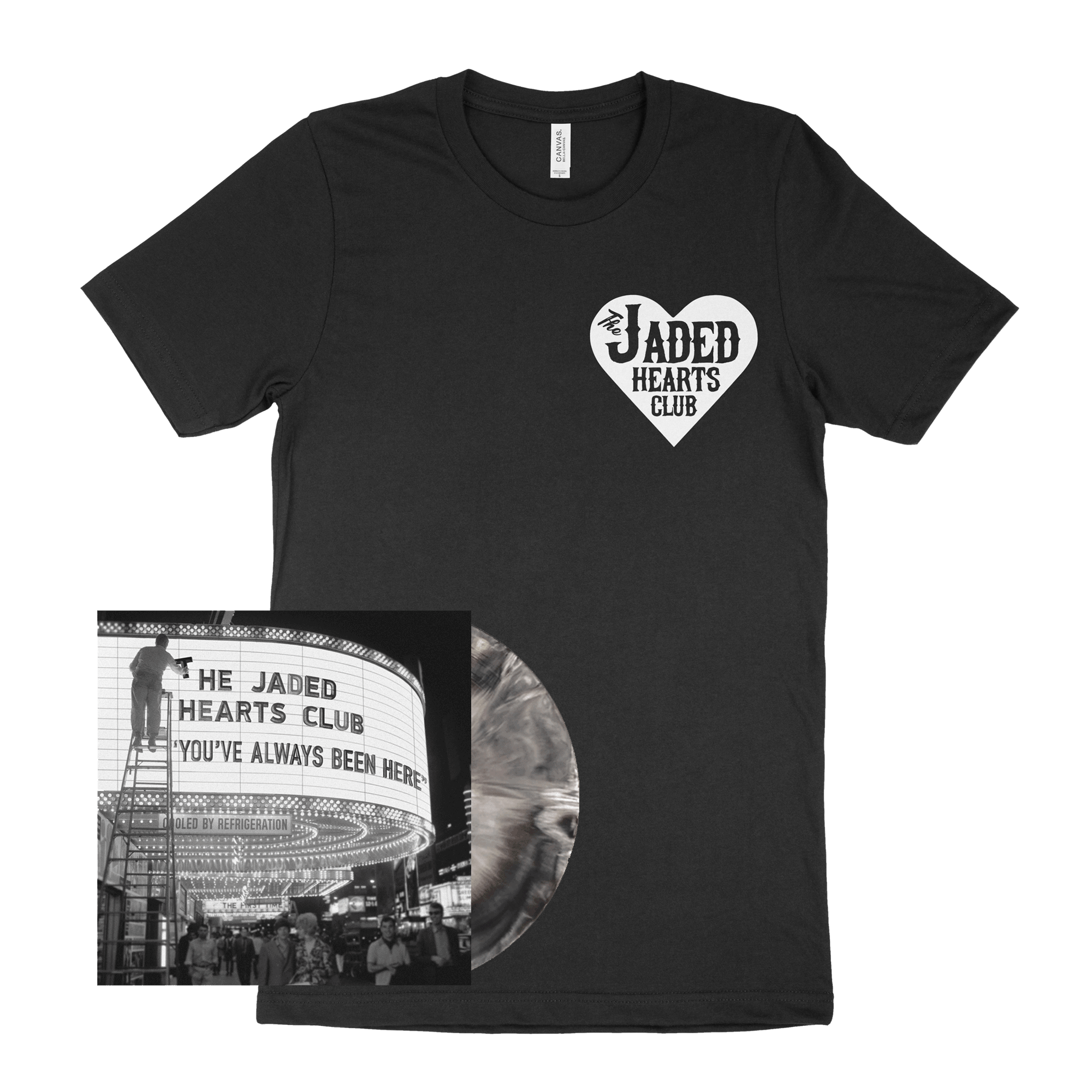 You've Always Been Here Marbled Black & White Heavyweight Vinyl + Black Small Logo T-Shirt