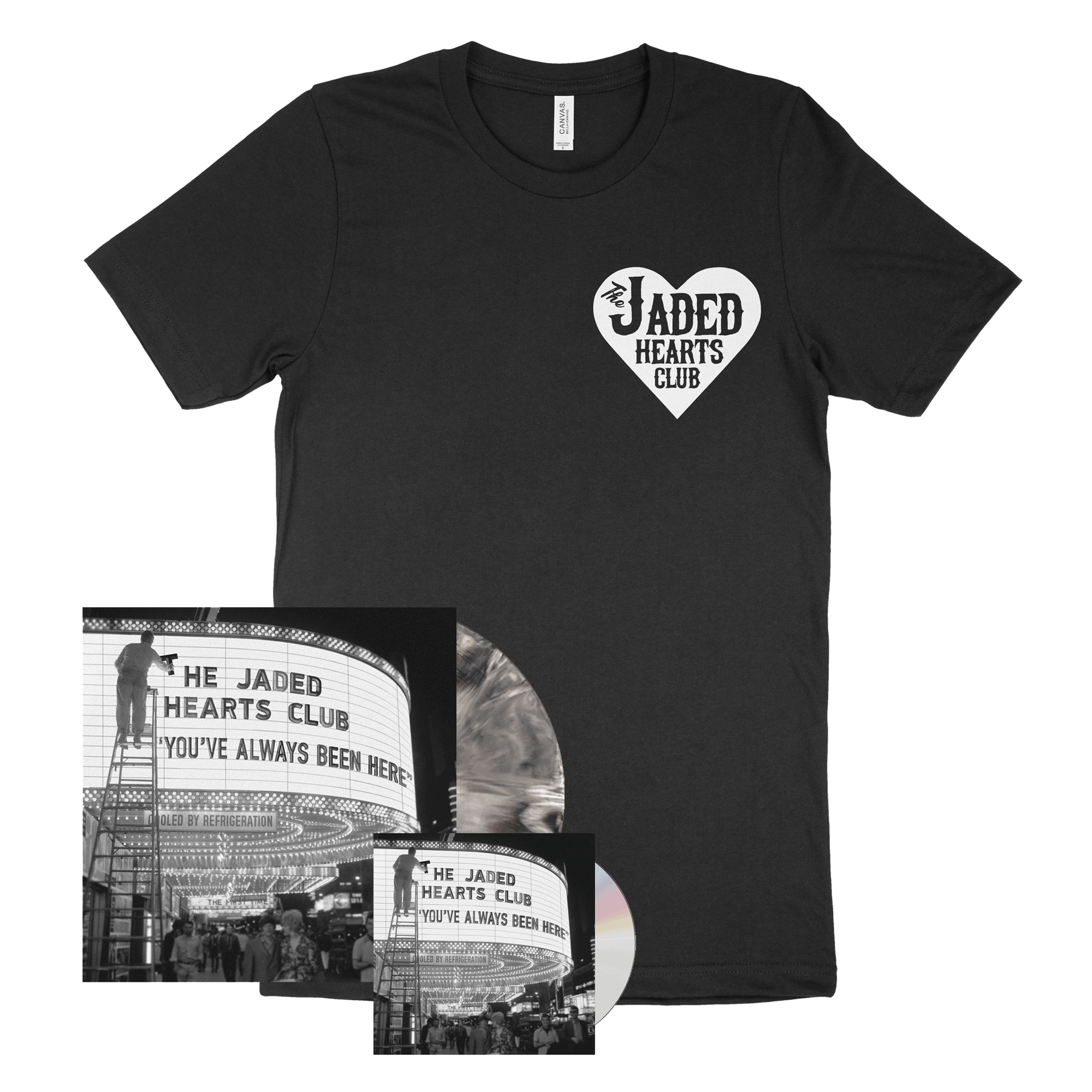 You've Always Been Here CD + Marbled Black & White Heavyweight Vinyl + Black Small Logo T-Shirt