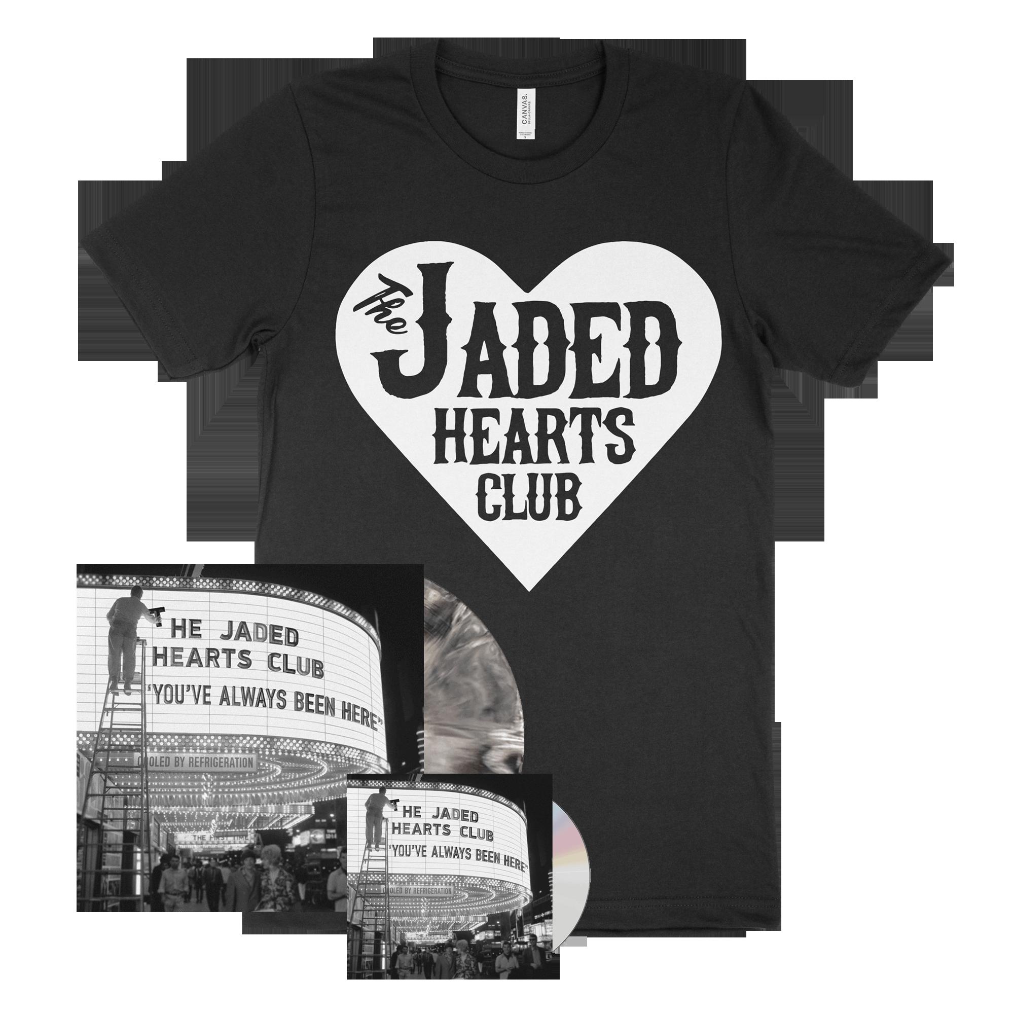 You've Always Been Here CD + Marbled Black & White Heavyweight Vinyl + Black Large Logo T-Shirt