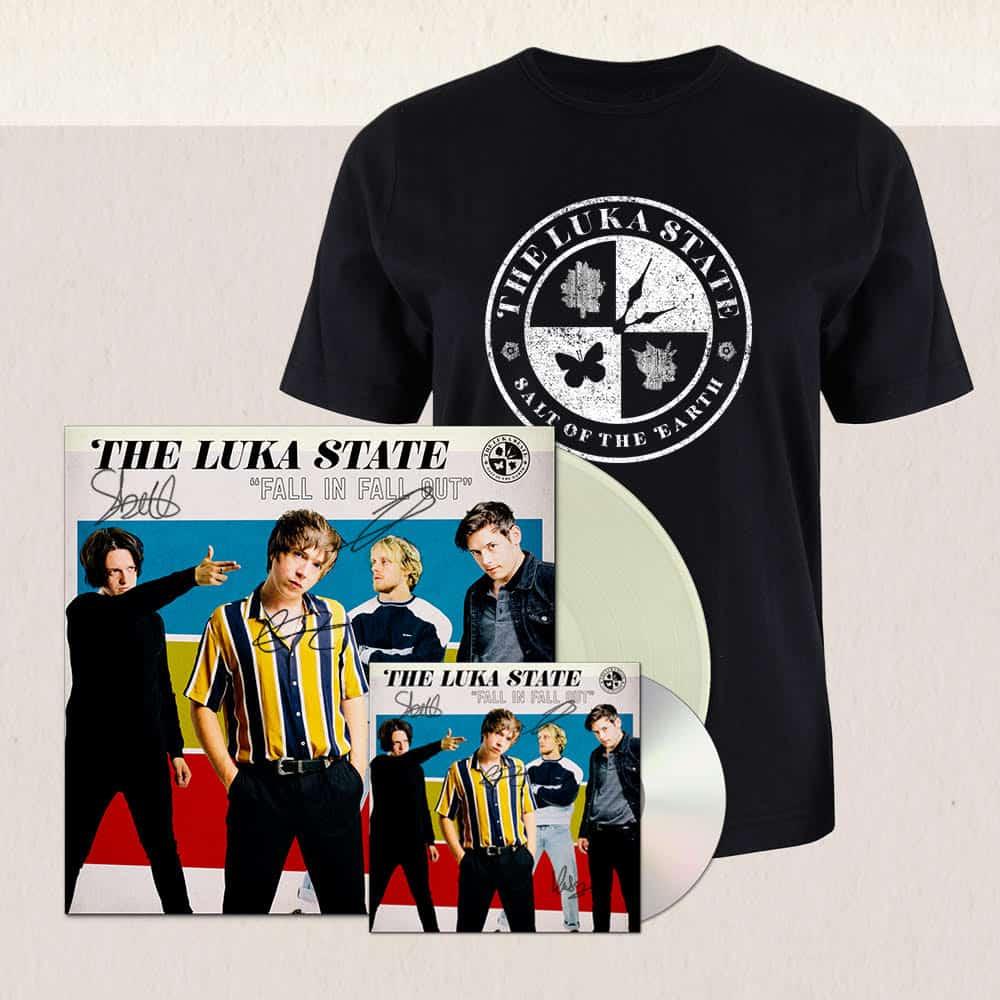 Buy Online The Luka State - Unisex Black Rocker T-Shirt + CD (Signed) + Cream Vinyl (Signed)