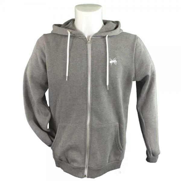 Buy Online The Prodigy - Classic Logo Embroidered Grey Zip Fitted Hoodie