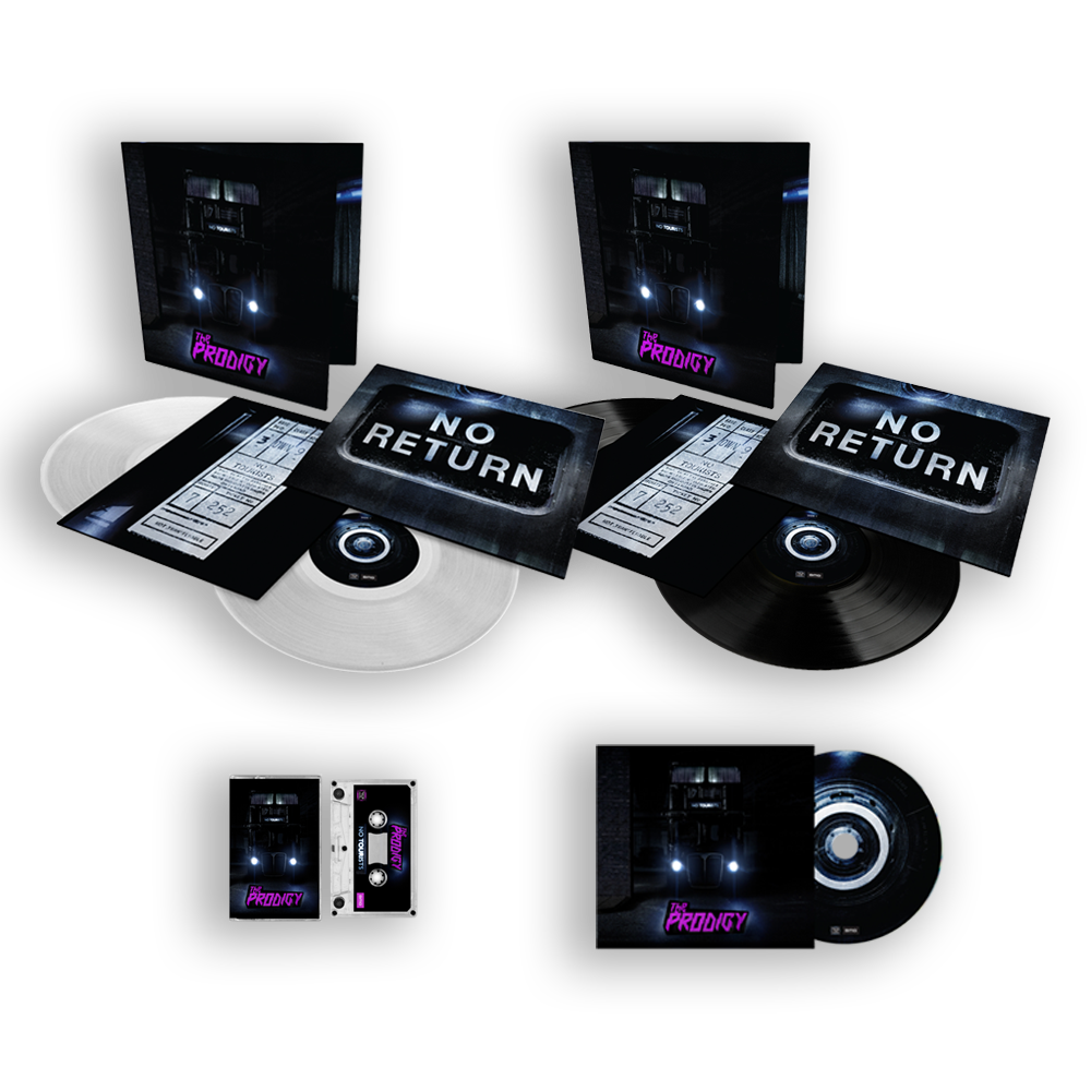 Buy Online The Prodigy - No Tourists 'Prodigy Store Exclusive' Clear Gatefold Double Vinyl, 180g Double Vinyl, CD & Tape Bundle