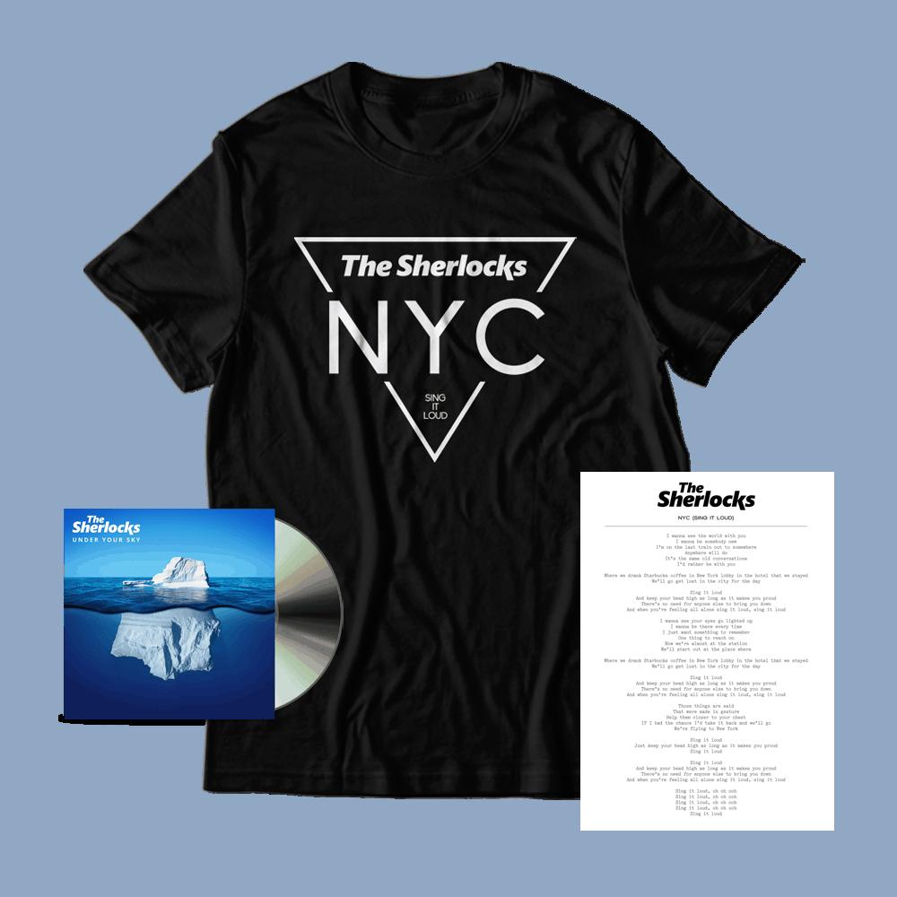 Buy Online The Sherlocks - Under Your Sky CD (Signed) + NYC T-Shirt + Lyric Sheet