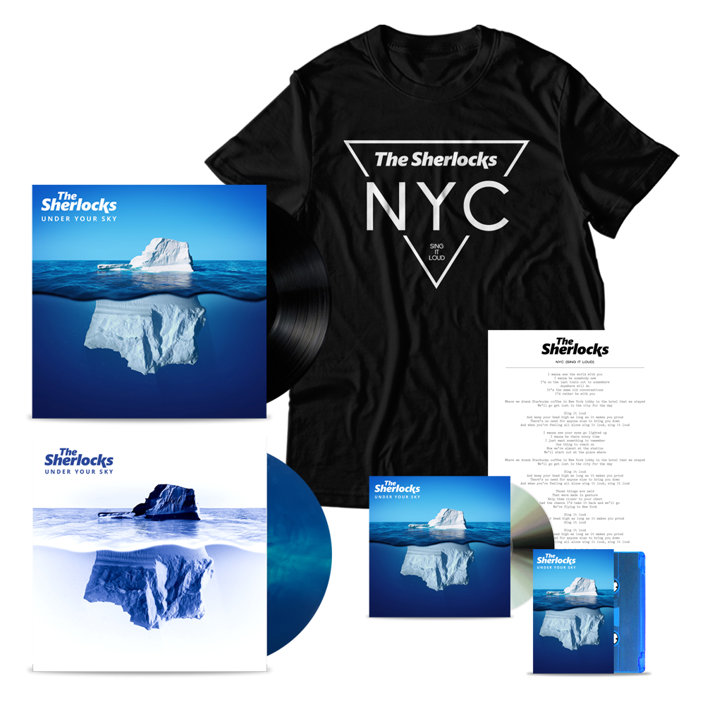 Buy Online The Sherlocks - Under Your Sky CD (Signed) + Vinyl (Signed) + Ltd Edition Vinyl (Signed) + Cassette (Signed) + NYC T-Shirt + Lyric Sheet