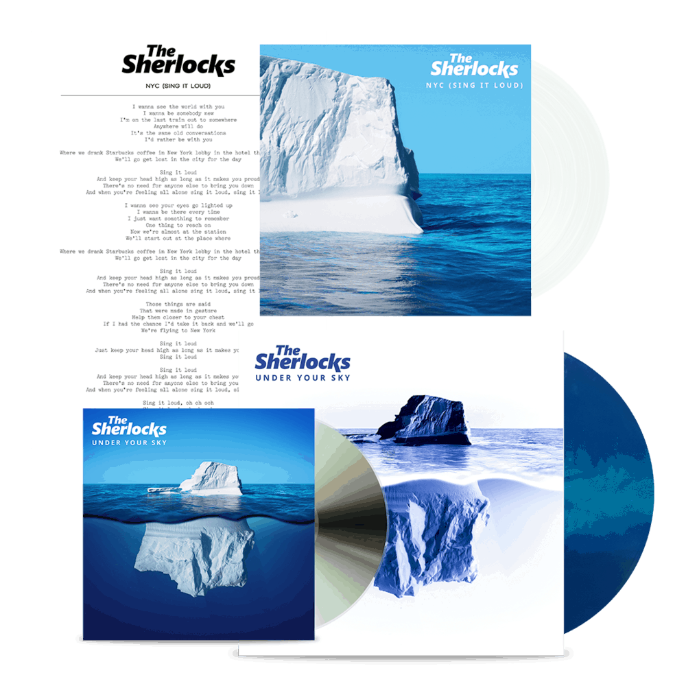 Buy Online The Sherlocks - Under Your Sky CD (Signed) + Ltd Edition Vinyl (Signed) + NYC Clear 7-Inch Vinyl + Lyric Sheet