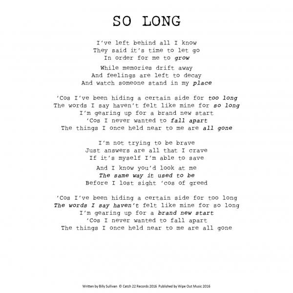 Buy Online The Spitfires - A4 So Long Lyrics Sheet (Signed)