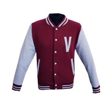 'V' Logo Burgundy/Heather Grey Varsity Jacket