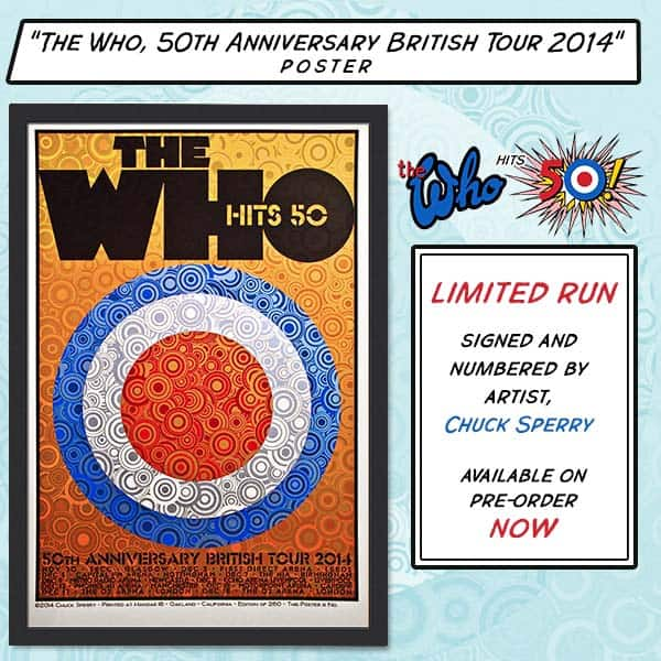Buy Online The Who  - 50th Anniversary British Tour 2014 LTD ED Poster