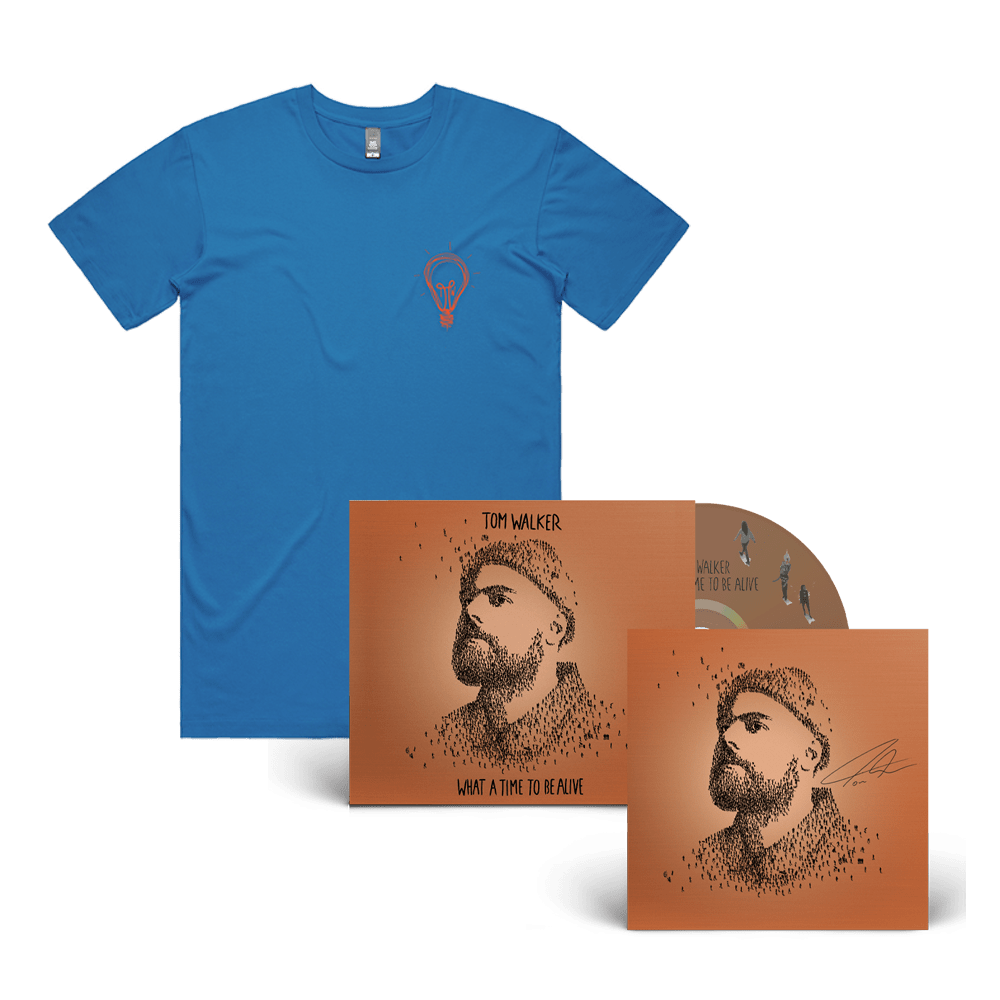 Buy Online Tom Walker - What a Time To Be Alive (Deluxe Edition) CD + Lighbulb T-Shirt (Signed Insert)