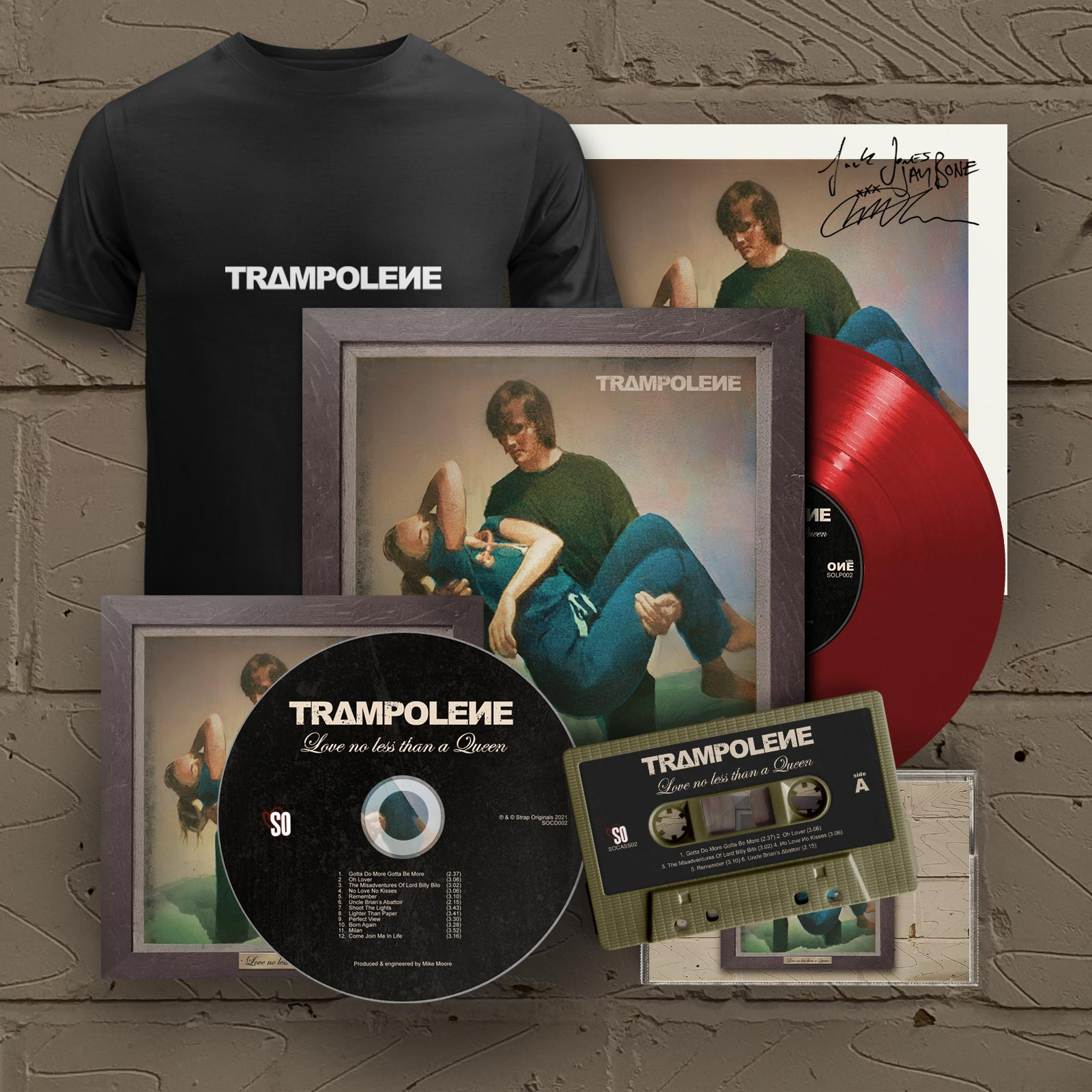 """Red LP & Signed CD & Cassette & T-Shirt (Includes Signed 12"""" Print)"""