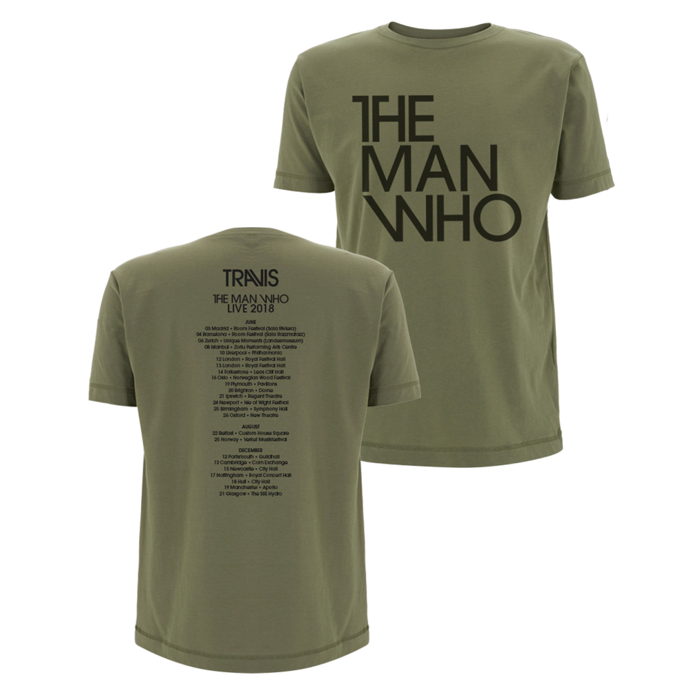 Buy Online Travis - The Man Who 2018 Tour T-Shirt (Khaki)