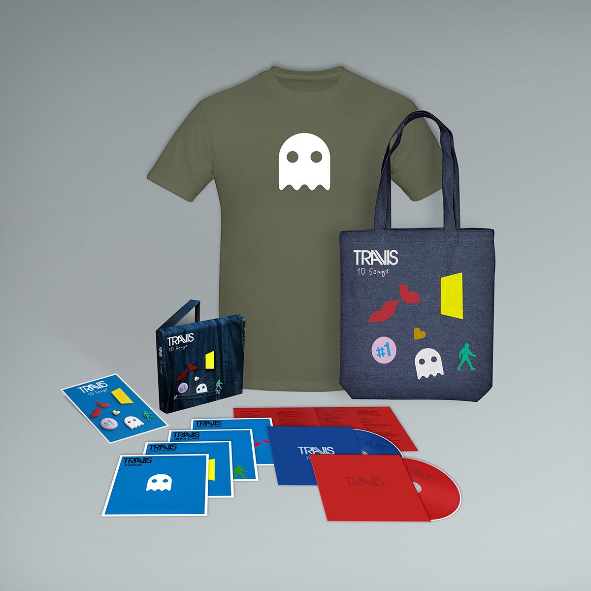 Buy Online Travis - 10 Songs Deluxe Double CD (Inc. Album Demos) + T-Shirt + Badge Set + Tote Bag
