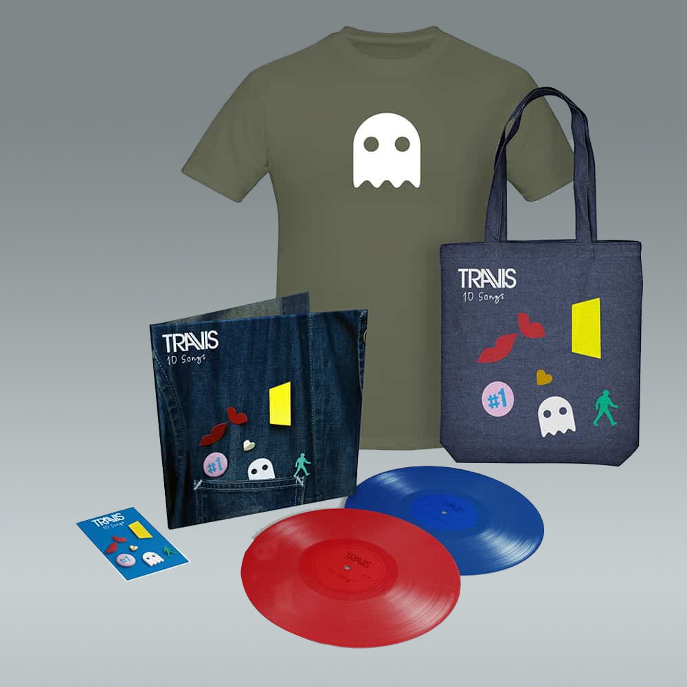 Buy Online Travis - 10 Songs Deluxe Double Coloured Vinyl (Inc. Album Demos) + T-Shirt + Badge Set + Tote Bag
