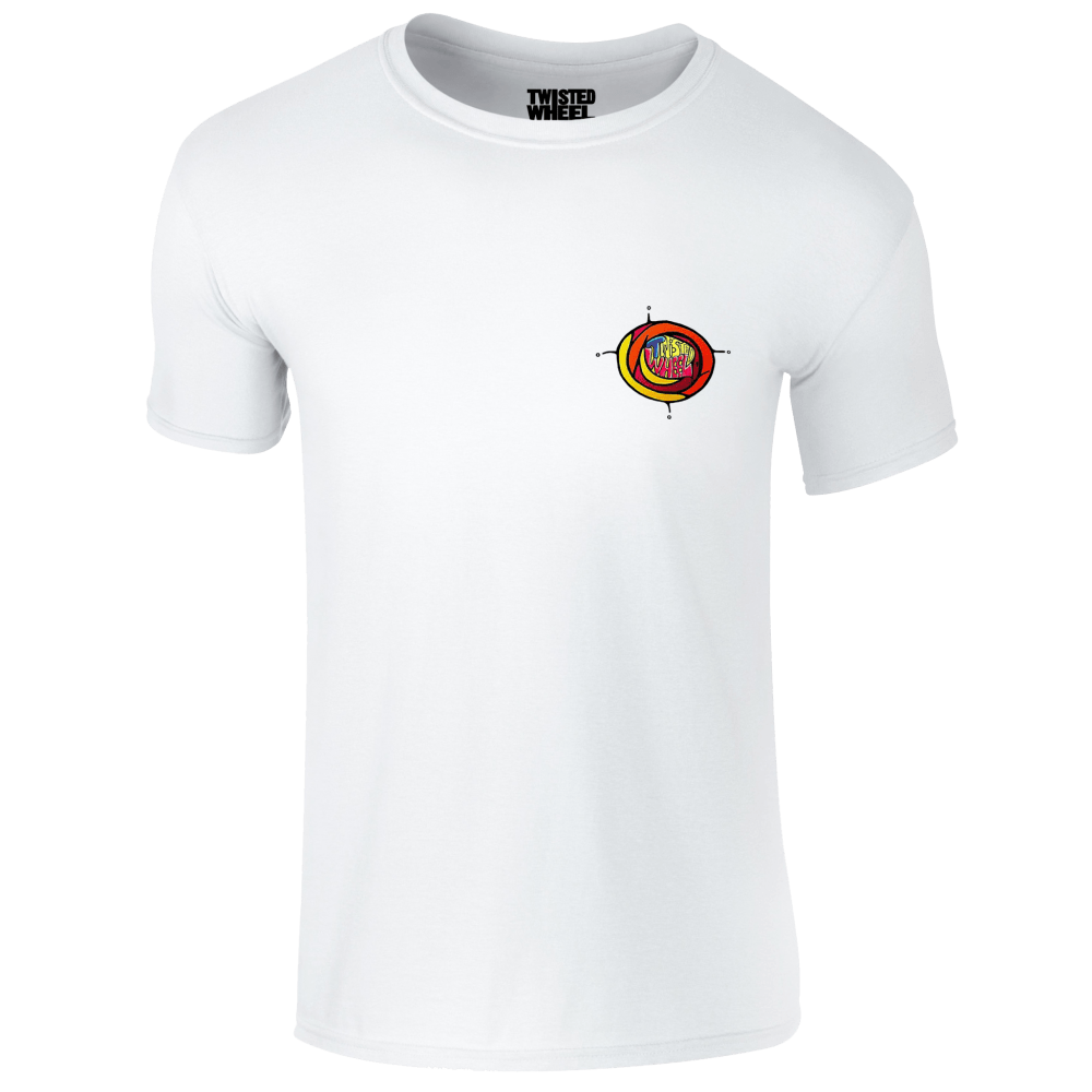 Buy Online Twisted Wheel - Coloured Chest Logo White T-Shirt