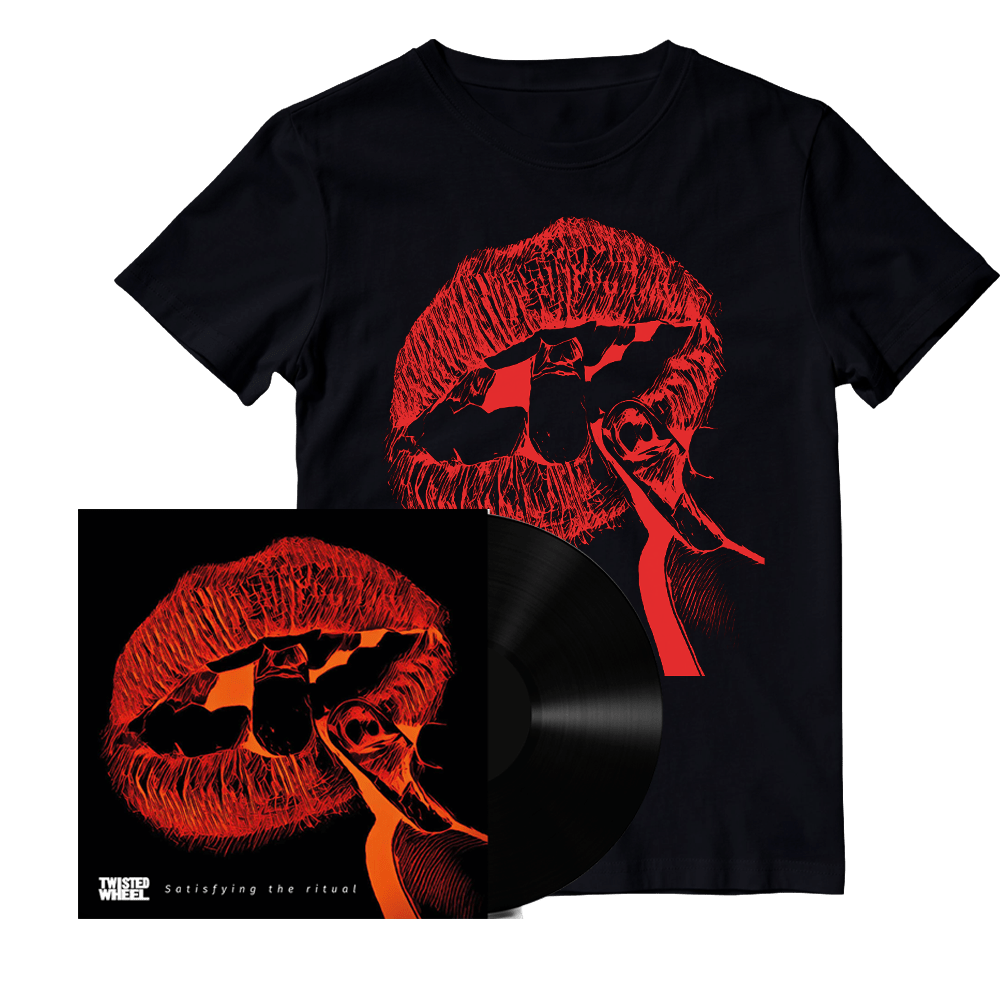 Buy Online Twisted Wheel - Satisfying The Ritual Signed Vinyl + Red Lips Black T-Shirt