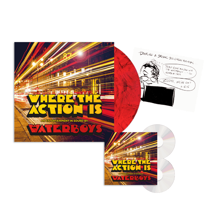 Buy Online Waterboys - Where The Action Is Deluxe 2CD + Marble Vinyl + Signed 12x12 Comic Strip Print