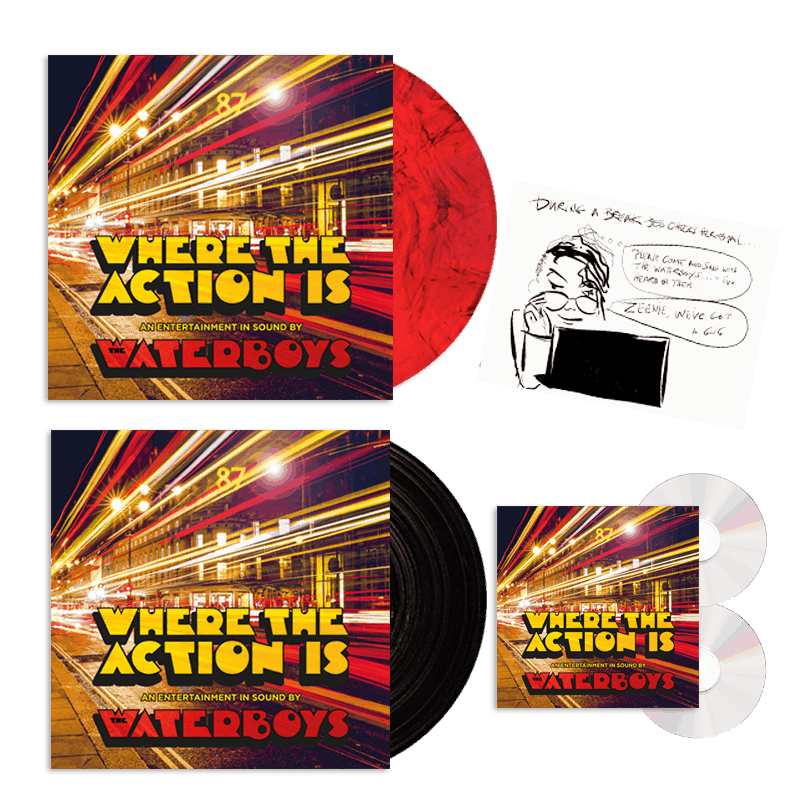Buy Online Waterboys - Where The Action Is - Deluxe 2CD + Black Vinyl + Marble Vinyl + Signed 12x12 Comic Strip Print
